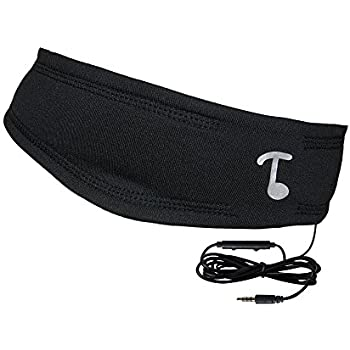Tooks NextGen SPORTEC BAND (DRYFIT) - Headphone Headband With Integrated Removable Headphones | New Inline Remote with Microphone, Volume Adjust and Music/Call Control | COLOR: BLACK