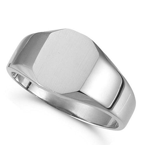 Customizable Signet Ring w/ Octagon Shape Top Engravable in 14k White Gold 11x9mm (Ring Octagon Signet Gold White)