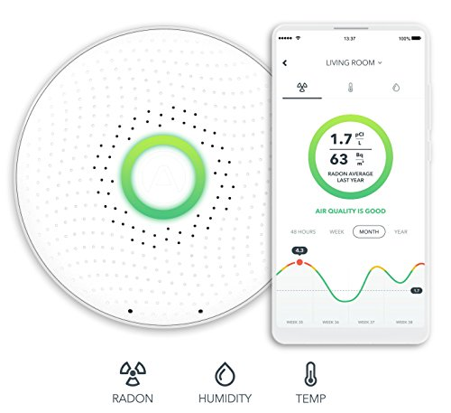 Airthings Wave Smart Radon Detector with Free app – Easy-to-Use – Temp and Humidity – Accurate – No Lab Fees – Battery Operated