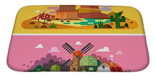 Gear New Memory Foam Bath Rug, Village Sunset Landscapes, 34x21, - Mills Directions Colorado