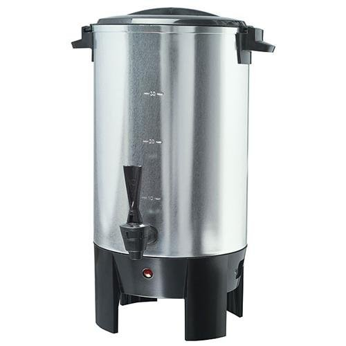 Continental Electric CP43699 30-Cup Stainless Steel Single Coffee Wall Urn, Silver Electric Stainless Steel Coffee Urn