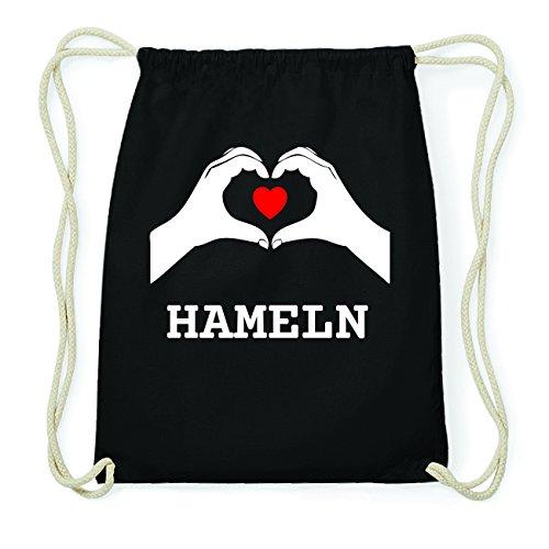 JOllify HAMELN Hipster Turnbeutel Tasche Rucksack aus Baumwolle - Farbe: schwarz Design: Hände Herz