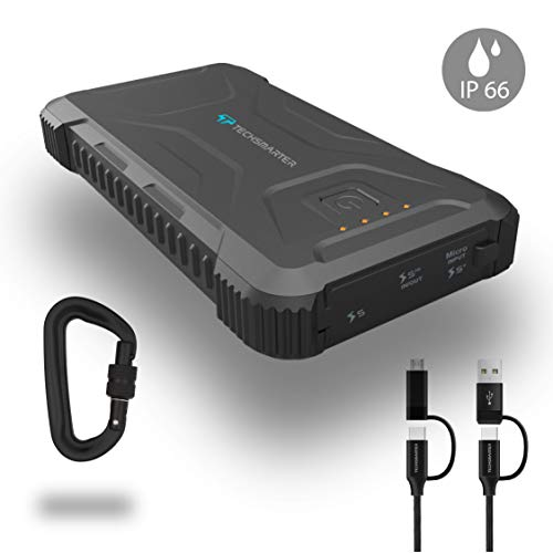 Techsmarter 20,000mah Rugged & Waterproof Power Bank 18W Power Delivery & 18W Fast Charge Ports. Portable Phone Charger with Flashlight for Outdoor. Compatible with iPhone, Samsung, iPad, Android