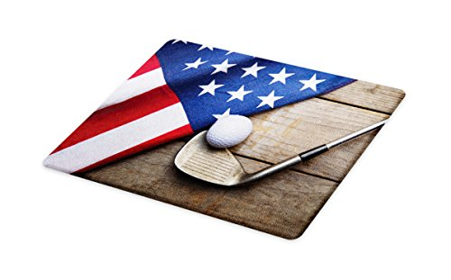 Lunarable Sports Cutting Board, Golf Ball with Flag of USA on Wood Table Patriotism Rustic Country Style, Decorative Tempered Glass Cutting and Serving Board, Large Size, Navy Blue Red ()