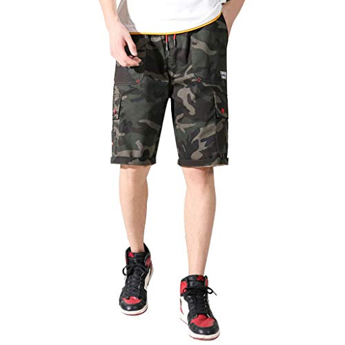 Men's Elastic Cargo Shorts, Mmnote Drawstring Cool Belt Simple Comfort Stretch Fit Shorts,A-Army Green