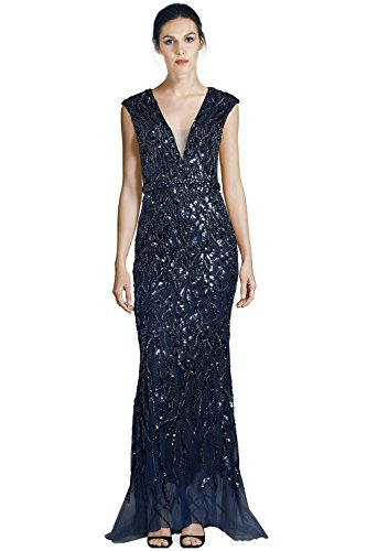 Jovani Sequined Tulle Cap Sleeve Evening Gown Dress - Evening Dresses By Jovani