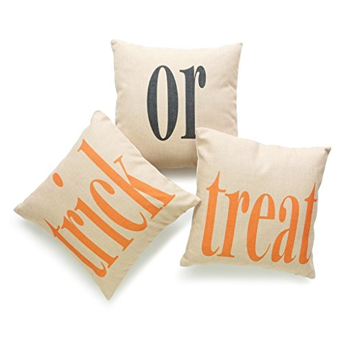 Hofdeco Decorative Throw Pillow Cover HEAVY WEIGHT Cotton Linen Happy Halloween Holiday Entryway Trick Or Treat Word Fun 18
