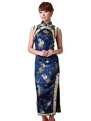 GoodOrient Brocade Chrysanthemum Print Chinese Dress Cheongsam (L, Blue)