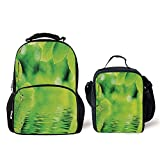 iPrint Schoolbags Lunch Bag,Leaves,Leaves in Water Spa Open Your Chakra Nature Meditation Ecological Monochrome Photo,Green,Picture Printed Bag