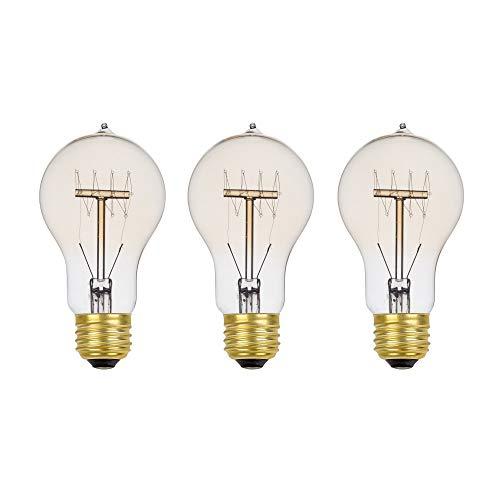 (Globe Electric 60W Vintage Edison A19 Quad Loop Incandescent Filament Light Bulb 3-Pack, E26 Base, 245 Lumens 31325)