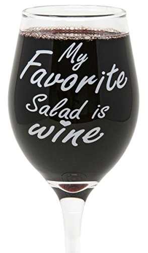 Funny Guy Mugs My Favorite Salad Is Wine Wine Glass, 11-Ounce - Unique Gift for Women, Mom, Daughter, Wife, Aunt, Sister, Girlfriend, Teacher or Coworker (Several Styles To Choose From)