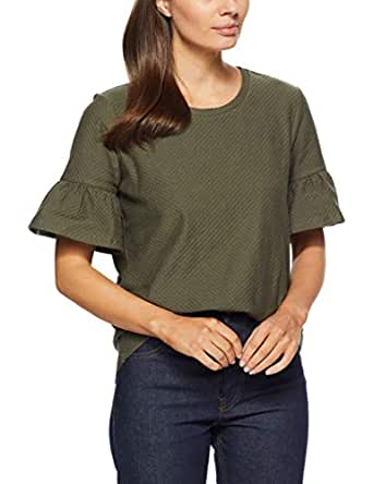 French Connection Women's Ruffle Sleeve TOP, Khaki, Extra Small