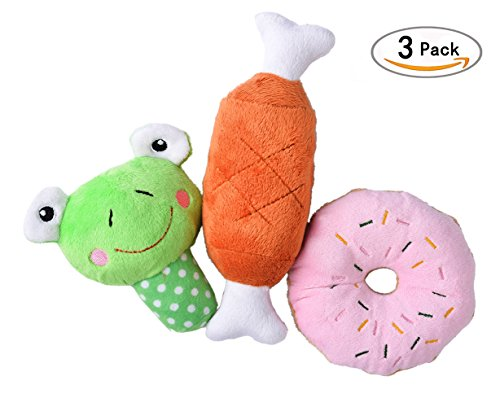 3 pcs/set Squeaky Plush Dog Toys for Small Puppies PUPTECK