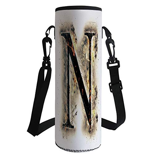 iPrint Water Bottle Sleeve Neoprene Bottle Cover,Letter N,Capital Scorched Letter N on Fire Alphabet Art Heat Flames Blazing Concept Decorative,Tan Black Orange,Fit for Most of Water Bottles by iPrint
