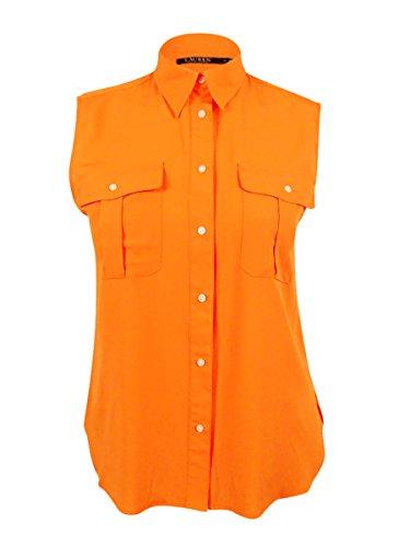 (Lauren Ralph Lauren Women's Crepe Sleeveless Shirt (Pompano Orange, 12))