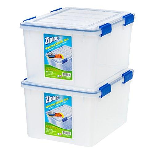 - IRIS USA, Inc. WSB-SD Ziploc WeatherShield Storage Box, 44 Quart, Clear, 2 Pack