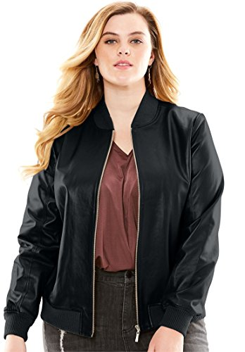 Roamans Women's Plus Size Leather Bomber Jacket Black,32 W by Roamans