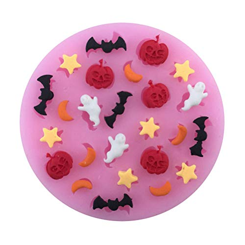 1 piece Hot Sale Moons Stars Ghosts Bats Cooking Tool Moon Star Halloween Pumpkins Cartoons Shaping Silicone Mold Chocolate Candy ()