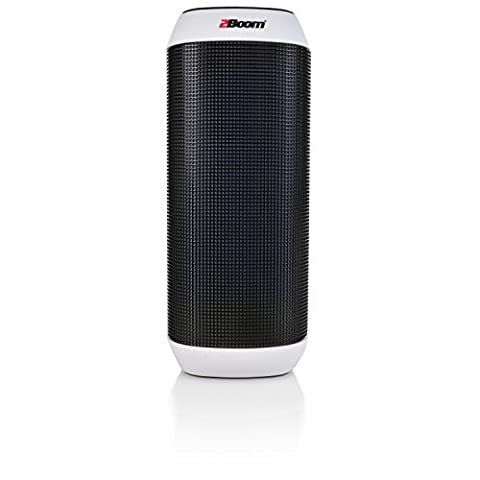 2BOOM Sound Pulse Wireless Portable Bluetooth Speaker with Colorful LED Party Lights White (Light Pulse Cable Aux)