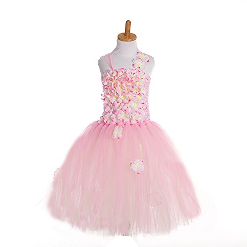 Dance Costumes Robe Purchase (Flower Girl Tulle Princess Dress Skirt Frilly Flower Dance Tutu Prom Robe Ball Gown Pink)