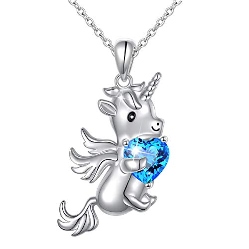 Sterling Silver Forever Love Unicorn in Heart Pendant Necklace for Women Teen Girl Gift, Rolo Chain 18