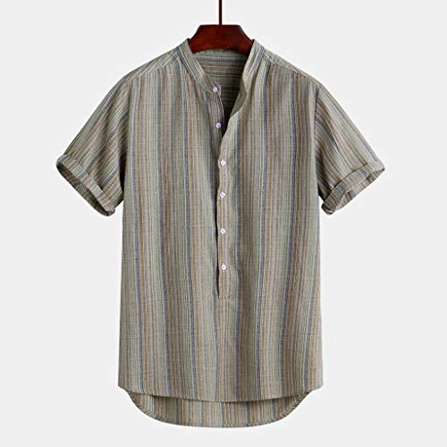 Linen Shirts for Men Tronet Men's Colorful Stripe Summer Short Sleeve Loose Buttons Casual Shirt Blouse