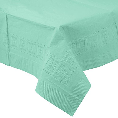 318897 54'' x 108'' Fresh Mint Green Tissue / Poly Table Cover - 24/Case By TableTop King by TableTop King