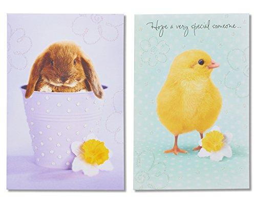 American Greetings Bunny and Chick Easter Cards with Glitter, 6 ()