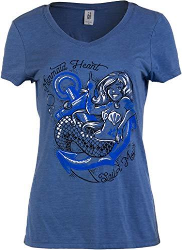 Heart Tattoo Sailor (Mermaid Heart, Sailor Mouth | Cute Funny Sassy Sarcastic V-Neck T-Shirt for Women-(Vneck,XL) Vintage Blue)