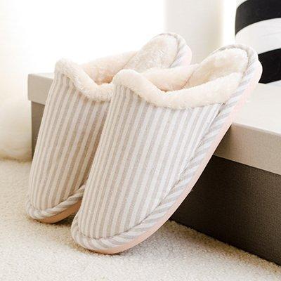 LaxBa Femmes Hommes chauds dhiver Chaussons peluche antiglisse intérieur Cotton-Padded Shoescreamy Slipper blanc40-70 (39-40 pieds)