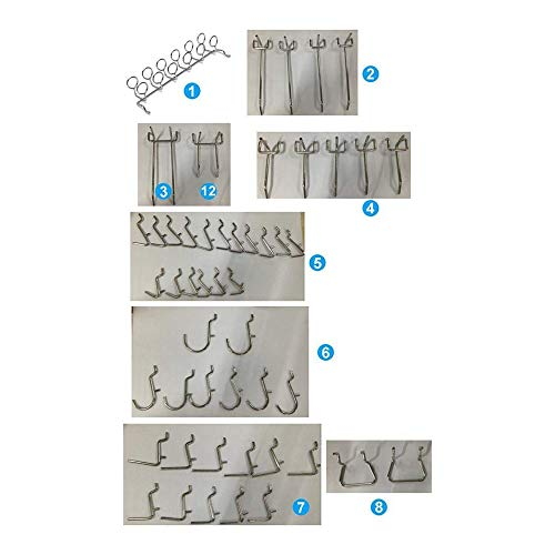 Buckes - 100Pcs Pegboard Shelving Set Pegboard Hooks Storage Shop Garage Organizing Tools Hanger - (Size: as Shown, Color: Silver) by Lysee (Image #7)