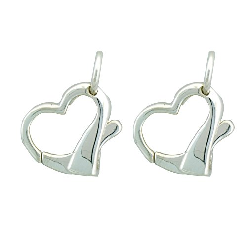 Sterling Silver Large Heart Lobster Claw Clasp with Open Jump Ring, 16 x 17mm