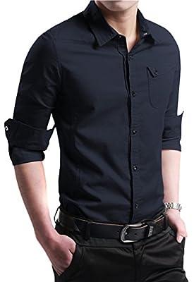 FRTCV Mens Dress Shirts Slim Fit Long Sleeve Button Down Shirts