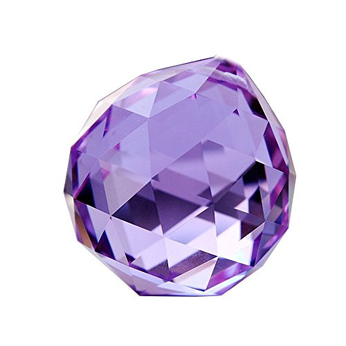 - Hongville Fancy Crystal Ball Prisms Pendant Feng Shui Sun Catcher for Holiday Decorating Hanging, 40mm, Light Purple