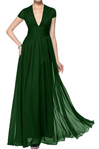 ivyd ressing Mujer corta aermel V de pico largo línea A Prom vestido Fiesta Vestido para vestido de noche Dunkelgruen