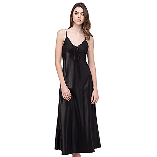 SexyTown Women's Long Trimmed Satin Nightgown V-Neck Full Slip Lingerie Sleepwear Small Black ()