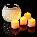 Xcellent Global Solar Powered Ceramics Jar Color Changing LED Light for Garden,Patio,Party,Outdoor and Indoor Decorations Night Lamp, Include 4 Bonus LED Amber Yellow Candle Tealight LD033