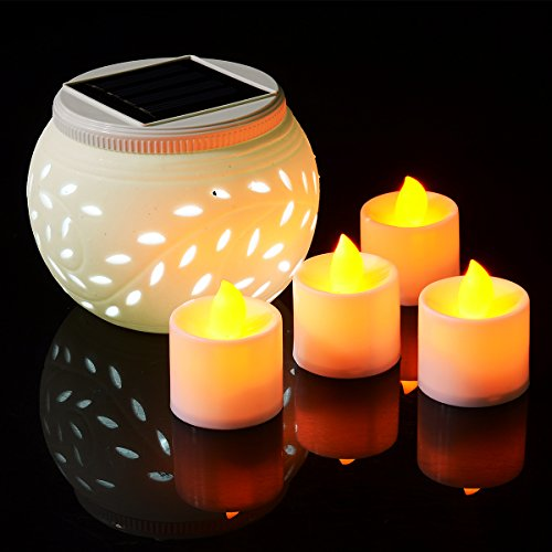 Xcellent Global Solar Powered Ceramics Jar Color Changing LED Light for Garden,Patio,Party,Outdoor and Indoor Decorations Night Lamp, Include 4 Bonus LED Amber Yellow Candle Tealight LD033 by Xcellent Global