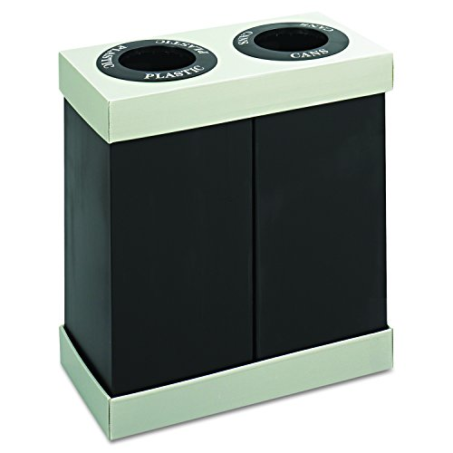 Safco Products 9794BL At-Your-Disposal Waste Recycling Center, Two 28-Gallon Bins, Black - Corrugated Trash Receptacle