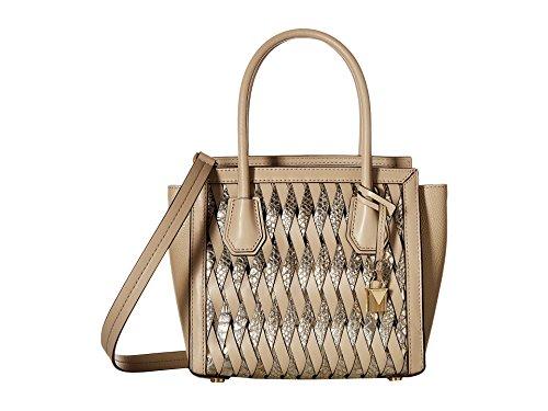 Michael Michael Kors Mercer Studio Embossed Metallic Leather Medium Woven Messenger Handbag in Oat Champagne