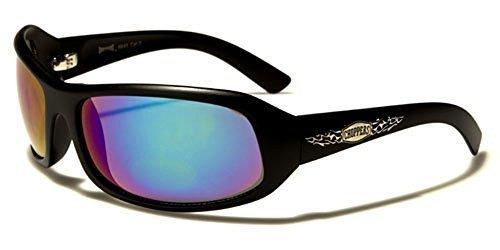 NEUF Choppers Designer homme femme motard rectangle Lunettes de soleil Enveloppantes COMPLET UV400 Protection GRATUIT vibrant Hutt poche inclus noir / verres bleus effet miroir
