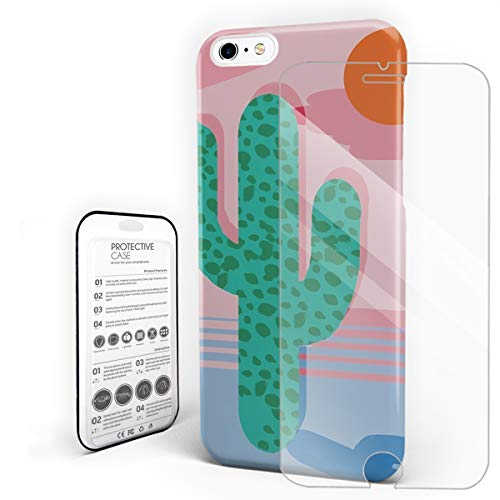 Compatible with iPhone 6 Case and iPhone 6s Case, Hard PC Back Phone Case with Tempered Glass Screen Protector Retro Throwback Neon Minimal Abstract Cactus Desert Palm Shockproof Protective Cover