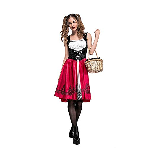 Viserneey Women's Little Red Riding Hood Halloween Cosplay Costume Make up Party Dress -