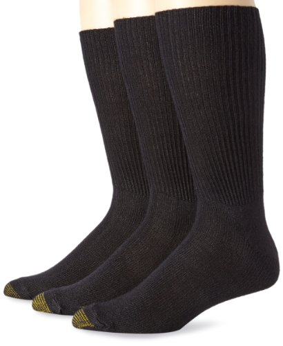 Gold Toe Men's Fluffies Sock, 3 Pack Extended, Black, Size