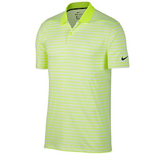 Nike New DRI FIT Victory Stripe Golf Polo Volt/White/Black Large (Volt And Black Shirt)