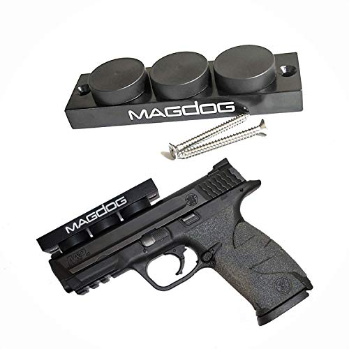 Bronze Novo Double Handle - MAGDOG Gun Magnet 48 Lbs Rating - Magnetic Gun Mount for Pistols and Shotguns | Pistol Magnet Works as a Car Holster and Bedside Holster | Conceal or Display Firearms in Home Office Vehicle and Safe