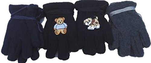 Four Pairs Fleece Gloves for Infants and Toddlers Ages 3-12 Months