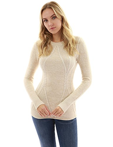 (PattyBoutik Women Cotton Blend Crewneck Cable Knit Sweater (Heather Beige X-Small))