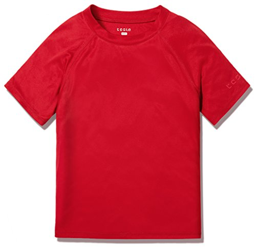 TSLA TM-BSS30-RED_Medium (12) Boys UPF 50+ Short Sleeve Rashguard Youth Surf Kids Swim Top BSS30