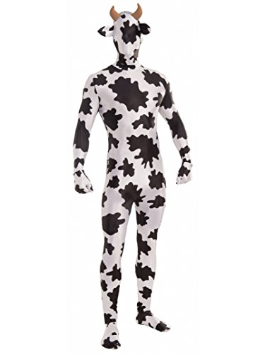 Forum Novelties Women's Disappearing Man Patterned Stretch Body Suit Costume Spotted Cow, White/Brown, Medium/Large